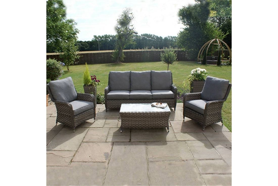 Outdoor Patio Couch Set, Victoria 3 Seater High Back Sofa Set Outdoor Rattan Weave