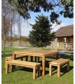 Regent 150cm sq Table Bench set