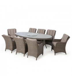 Harrogate 8 seat oval dining with lazy susan