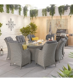 Thalia 8 Seat Oval Dining Set  Firepit