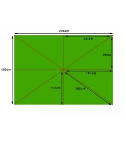 Parasol canopy - 300cm x 200cm rectangular - 8 pockets