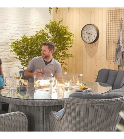 Camilla 6 Seat Oval Dining Set  Firepit