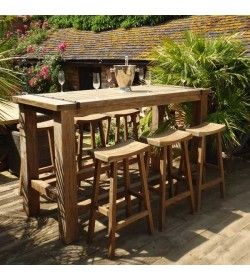 Reclaimed teak bar set