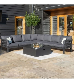 Oslo Large Corner Group - With Square Gas Firepit Table