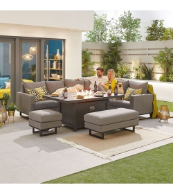 Eclipse Outdoor Fabric Casual Dining Set with Stools and Firepit Table