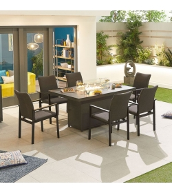 Hugo Outdoor Fabric 6 Seat Rectangular Dining Set with Firepit Table