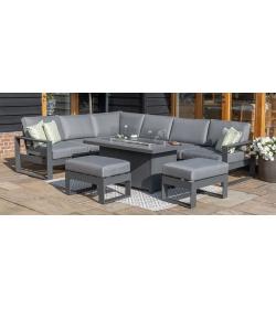 Amalfi Large Corner Set - Firepit Table & Footstools