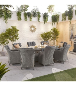 Camilla 8 Seat Dining Set - 2.3m x 1.2m Oval Firepit Table
