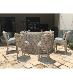 Fiji Curved Bar & 2 Barstools