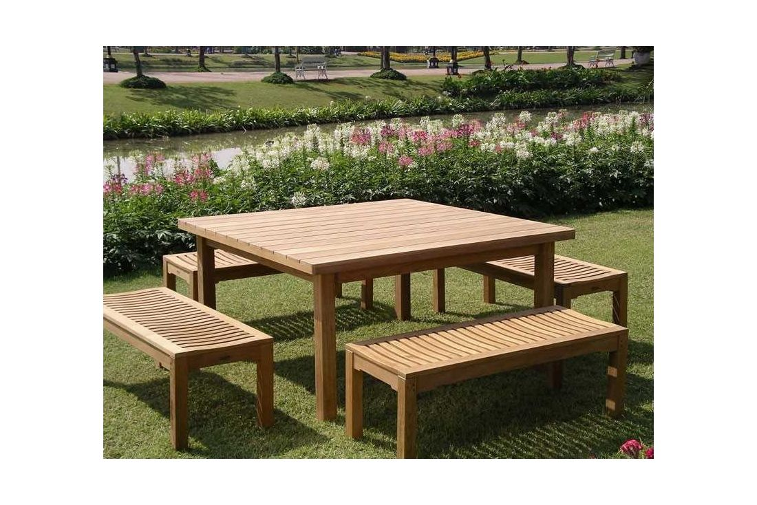 Chunky Table 1.5m Square With Backless Bench