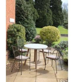 Fleur-De-Lis Round 4 Chair Dining Set