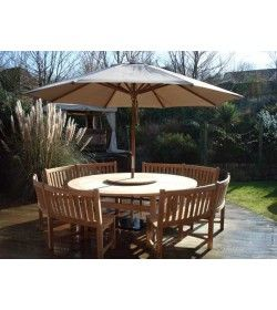 Chunky 210cm dia teak table with contour benches & parasol