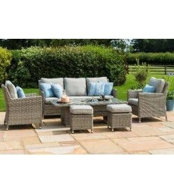 OXFORD VENICE SOFA DINING SET WITH ICE BUCKET & RISING TABLE