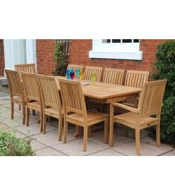 Teak 10 Chair Winchester Extending Set